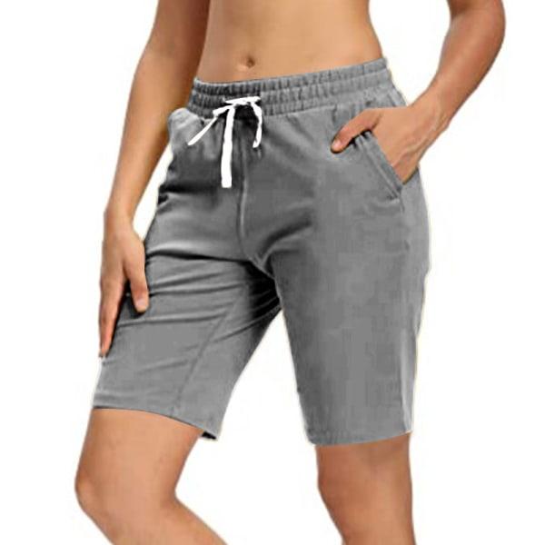 Kvinnor Sommar Yoga 5-Punktsbyxor Springa Joggning Casual Shorts Mörkgrå M