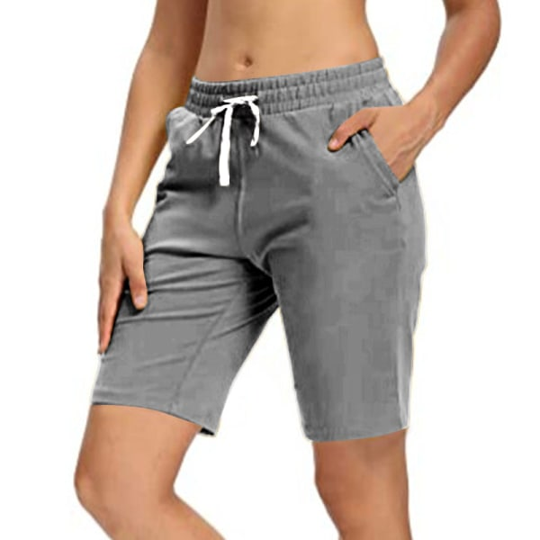 Kvinnor Sommar Yoga 5-Punktsbyxor Springa Joggning Casual Shorts Mörkgrå S
