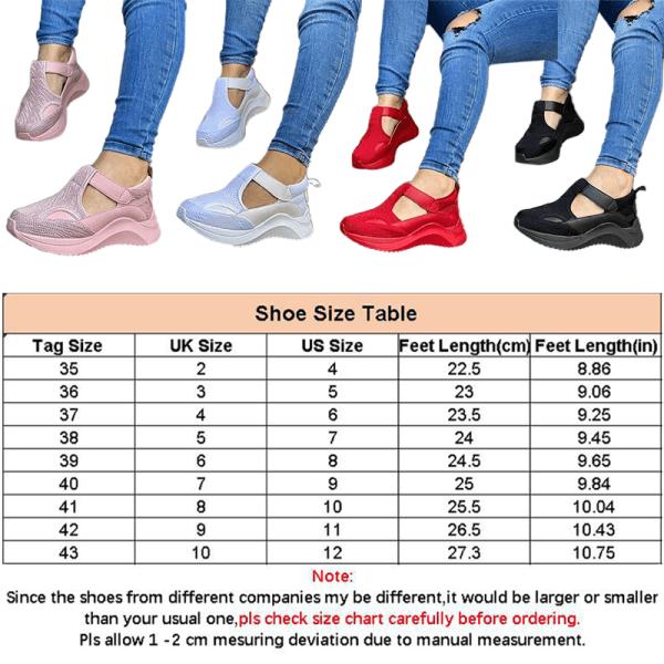 Kvinnors andningsbara sneakers Kilklack Plattform Fritidsskor Rosa 41