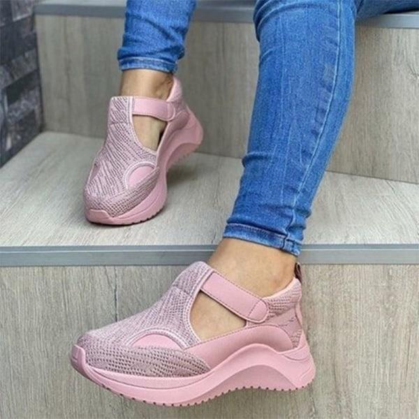 Kvinnors andningsbara sneakers Kilklack Plattform Fritidsskor Rosa 40