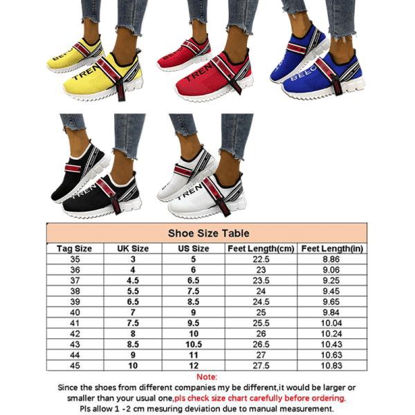 Kvinnors brevtryck Strumpor Skor Sneakers Platta Fritidsskor Svart 43