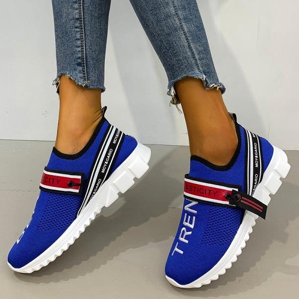 Kvinnors boktryckstrumpor skor sneakers platta skor mode Blå 41