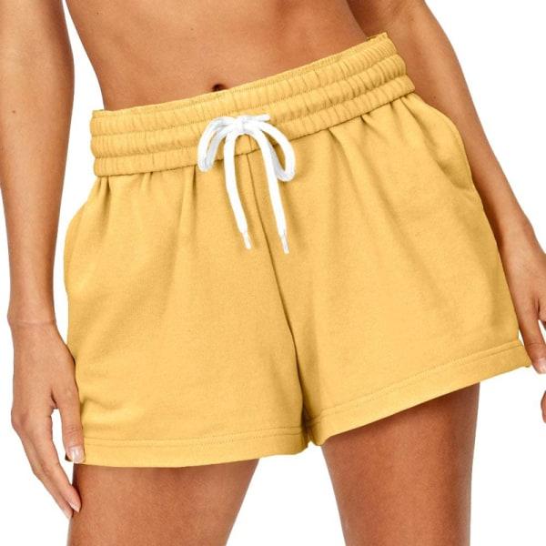 Kvinnors Elastisk Midjeväska Hotpants Yoga Rörelse Shorts Gul S