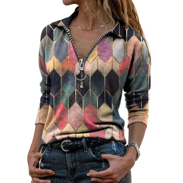 Kvinnors Geometriska Tryckta T-Shirt Pullover Blus Dragkedja Röd XL