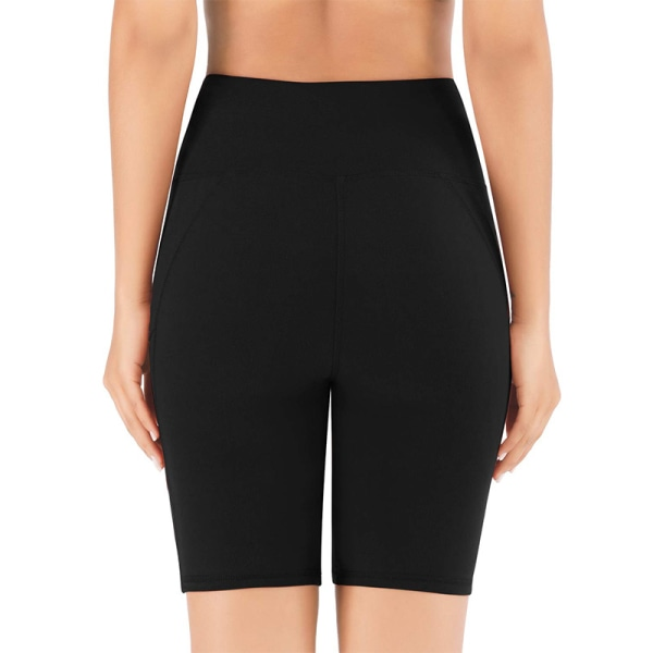 Kvinnors Hög Midja Yoga Shorts Sportbyxor Leggings Fickor Svart XL