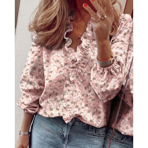 Kvinnors Lösa Casual Tryckta Långärmade Skjorta Blus Volang Rosa M