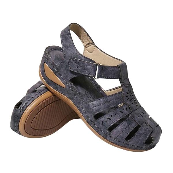 Kvinnors mode kilar ihåliga sandaler bil linje skor casual skor Blå 36