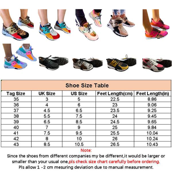 Kvinnors plattform leopardtryck snörning avslappnade sneakers 5 # Färg 35