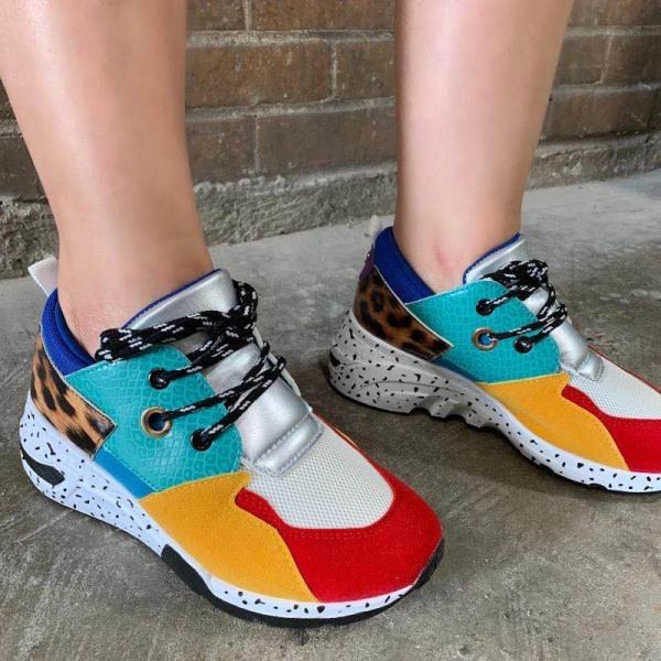 Kvinnors plattform leopardtryck snörning avslappnade sneakers 2 # Färg 40