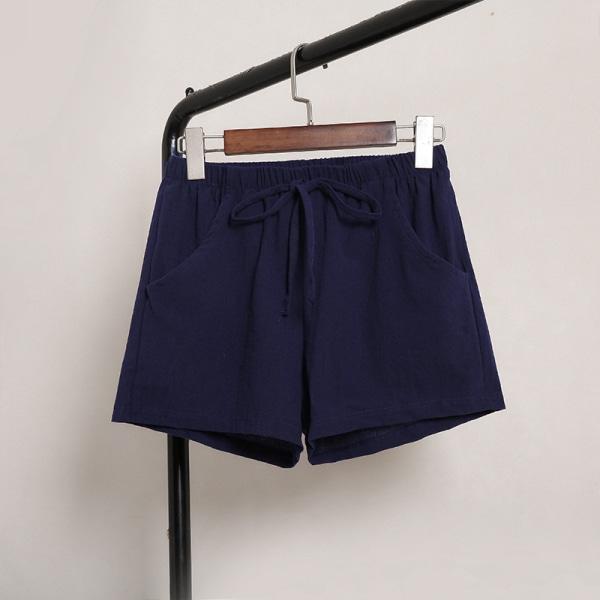 Kvinnors Rörelse Tillfällig Enfärgade Shorts Springa Joggning Marinblå XL