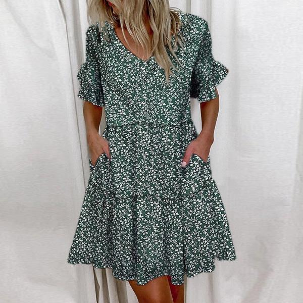 Kvinnors Ruffle Korta Ärmfickor Tunika Smock Dress Sundress Grön S