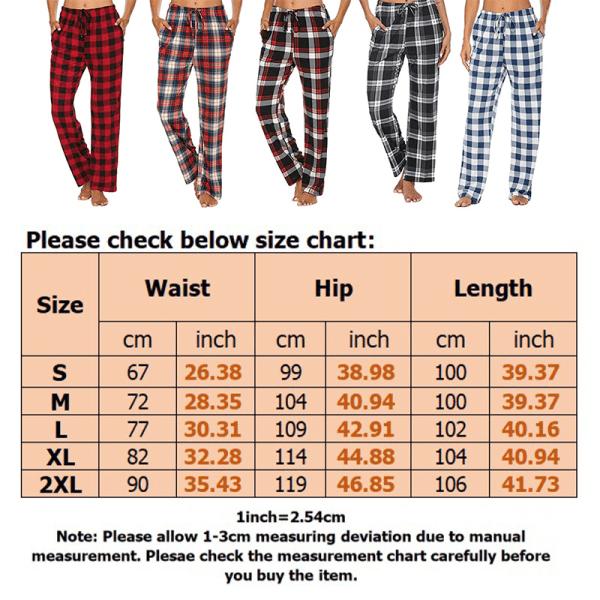 Kvinnors Rutiga Rutiga Tryckta Pyjamasbyxor Homewear-Byxor Rödsvart S