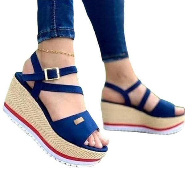 Kvinnors sandaler med kilklackar sommar i enfärgade höga klackar Blå 36