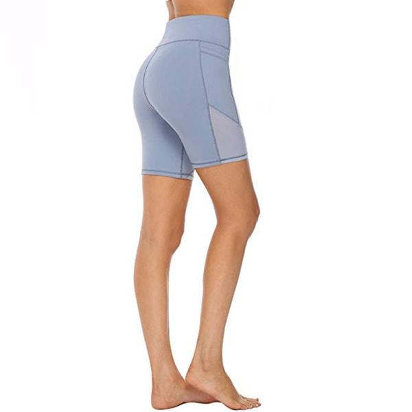 Kvinnors Smala Höftlyftande Mesh Sport Fem-Punkts Yogabyxor Blå M