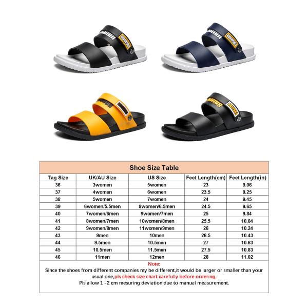 Kvinnors sommar tofflor mode platta skor sandaler med öppen tå Svart Gul 36