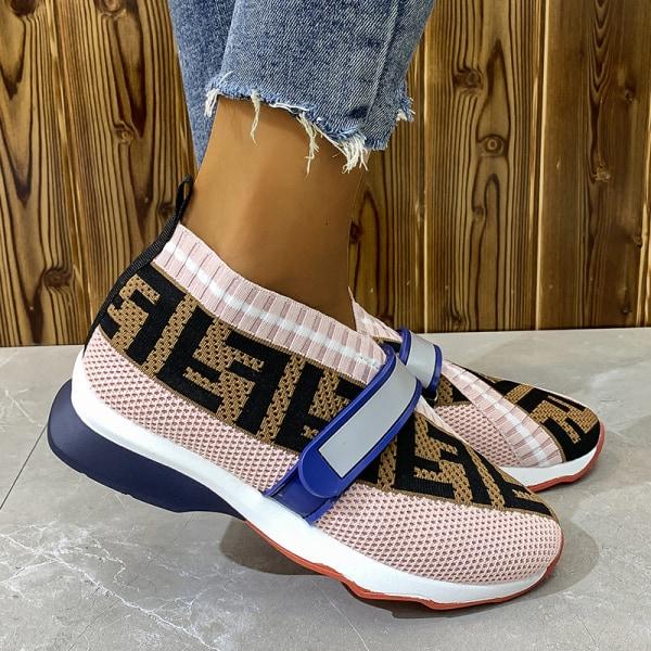 Kvinnors stretchstrumpor sneakers löparskor slip-in Rosa 35
