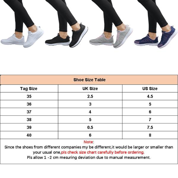 Ladies mesh löparskor casual skor gångträningsskor Vit 35