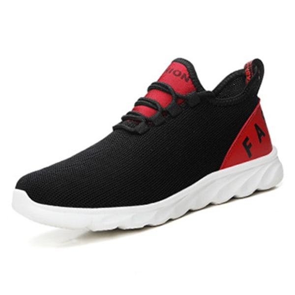Löparskor för män sommarsport andas avslappnade skor Röd Svart 43