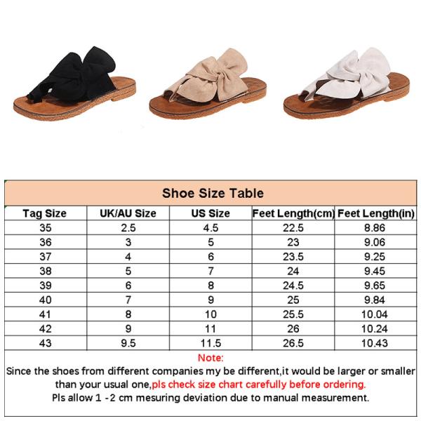 Tofflor för kvinnor flip-flops båge-knut platta skor mockasiner Kaki 37