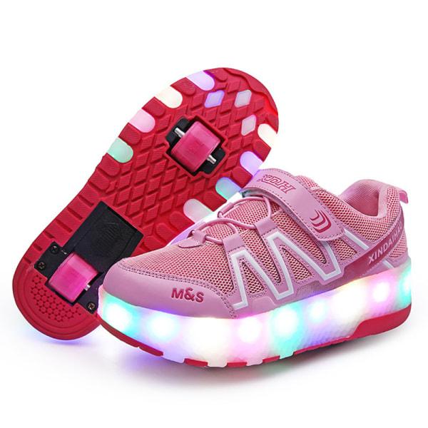 Unisex barn rullskridskor LED-ljus mode sneakers B81 Rosa 39