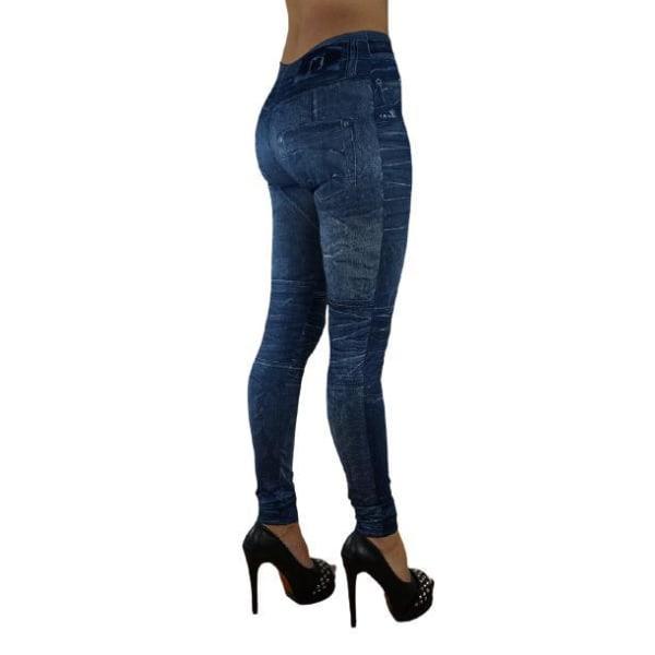 Blå Leggings Jeggings med jeansmönster Blå one size