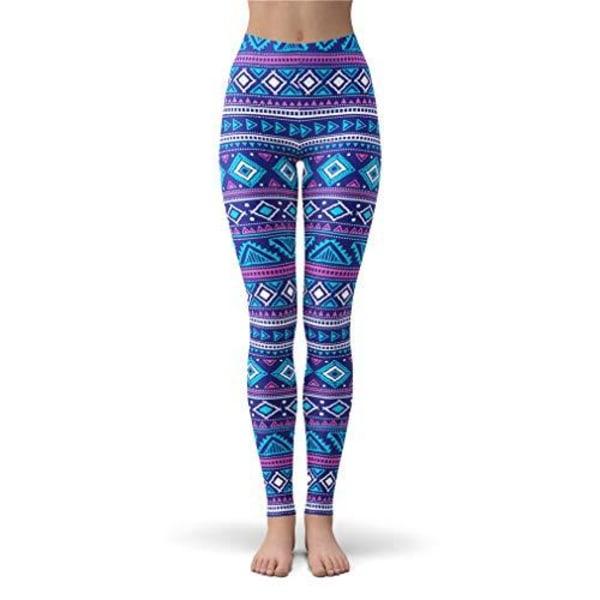 Mönstrade Mjuka Yoga Leggings 3 storlekar O/S -PLUS- EXTRAPLUS MultiColor PLUS