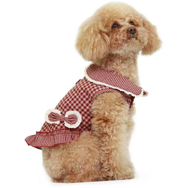 Dobaz Checkered Hund Klänning Brown XS