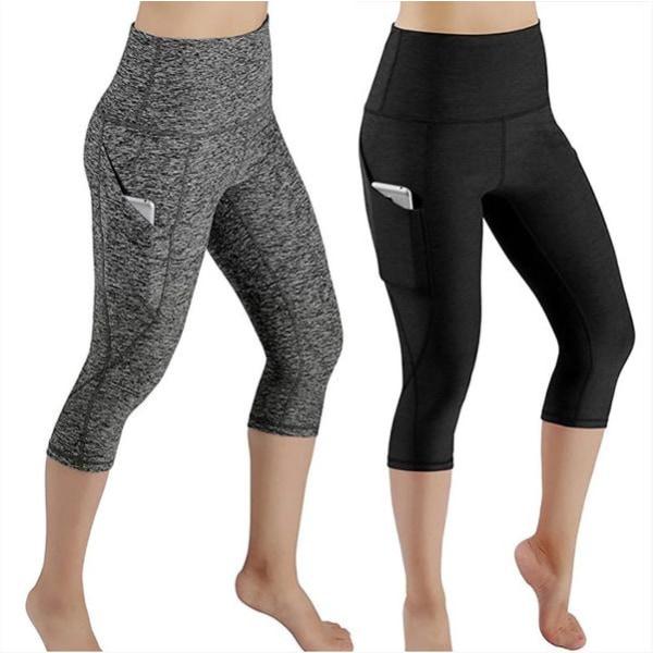 Yoga Fitness Capri Tights Leggings Black M