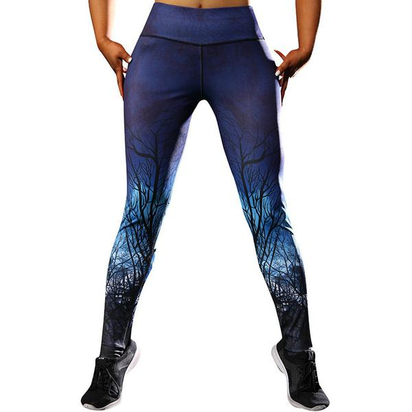 Blå leggings med mönster Blue L