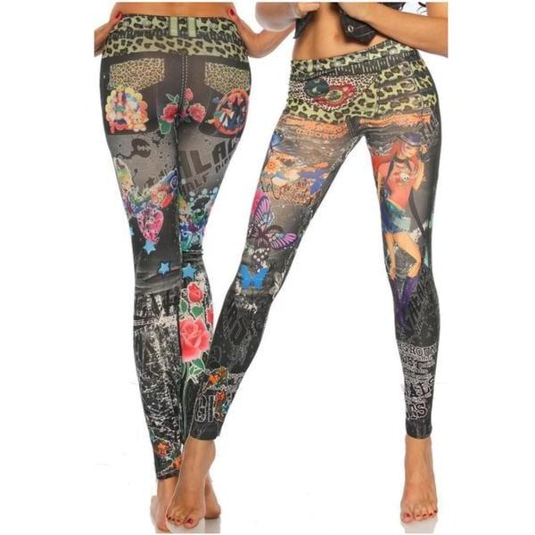 Svarta Jeans Leggings med tryck Black one size