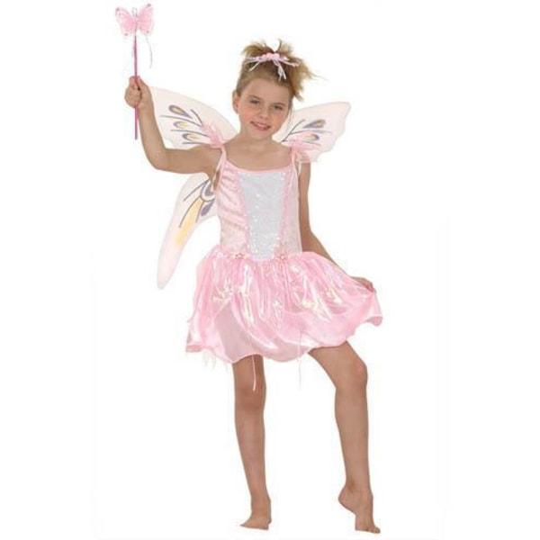 Fjärilsflicka Barn Maskeradkläder Pink M