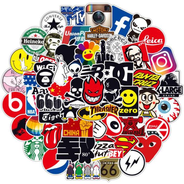 100st Mode Graffiti Stickers Vattentät Laptop Bagage Skat