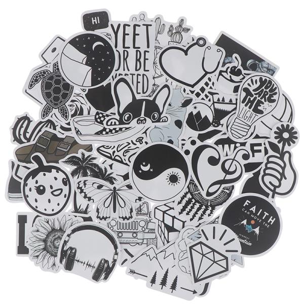 50st svart vita klistermärken Skateboard Laptop Bagagegitar Bik