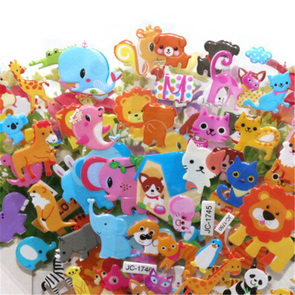 5ark 3D Bubble Sticker Leksaker Barn Barn Djur Klassisk Sti