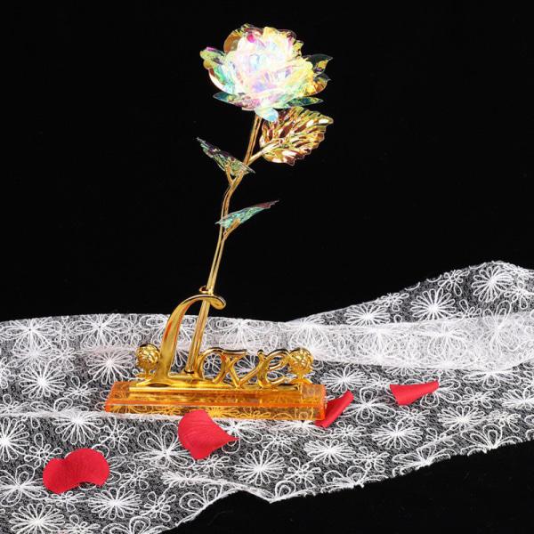 Kreativ gåva 24K folie guldros håller evigt kärleksbröllop dec