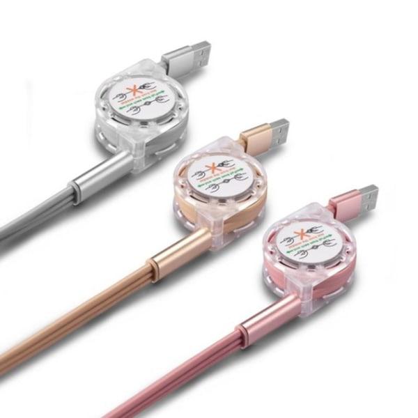 Infällbar multikabel 3-i-1 snabb laddningskabel USB för iPhon
