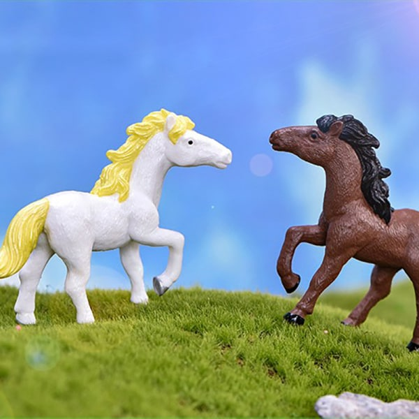 Simulering Horse Pony mikro landskap bonsai prydnad PVC docka