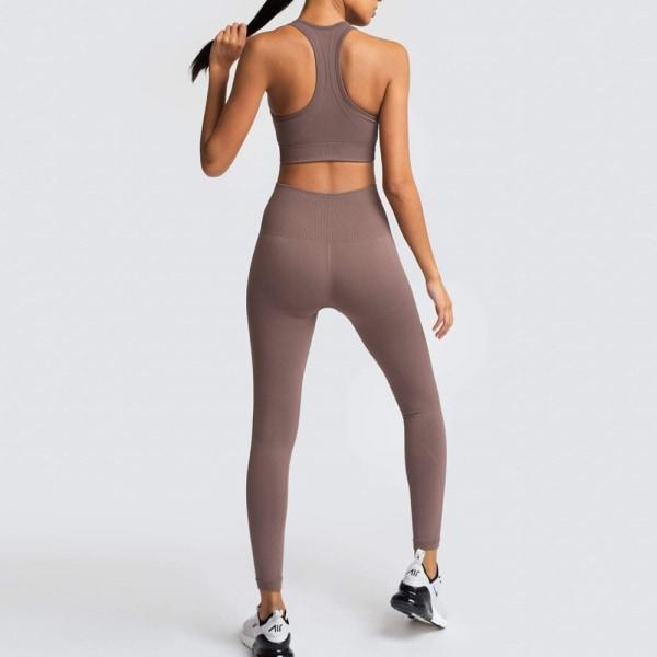 2 st / uppsättning sömlös yogaset Dam Gym Leggings