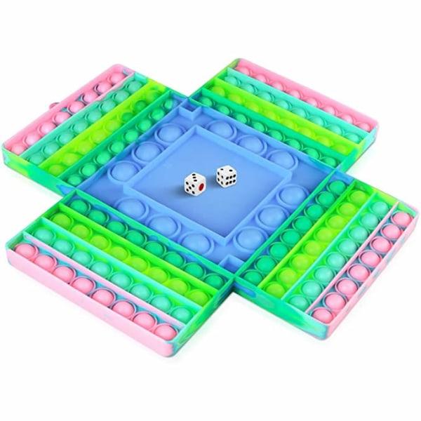 4 spelare schackbräde Pop it Fidget leksaker för barn vuxna