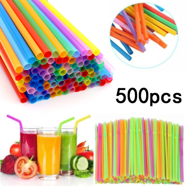 500 st - sugrör flerfärgade - flexibla