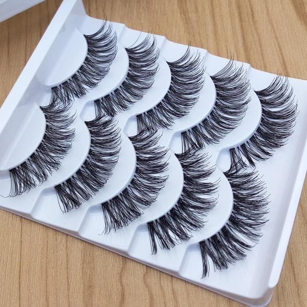 5-pack naturliga tjocka falska ögonfransar för sminkverktyg White