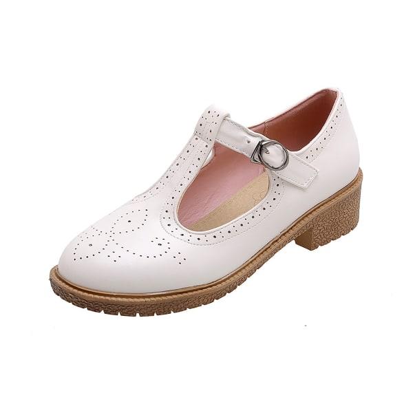 Kvinnors Retro T-rem Oxfordskor Round Toe Mid Heel Dress Pump Pink 7.5