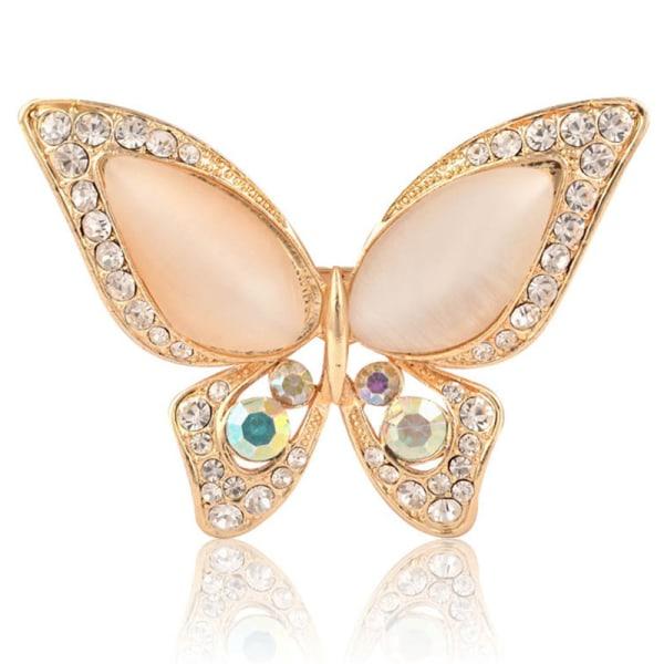 1 * Opal strass brosch för bröllop fjäril brosch för kvinnor