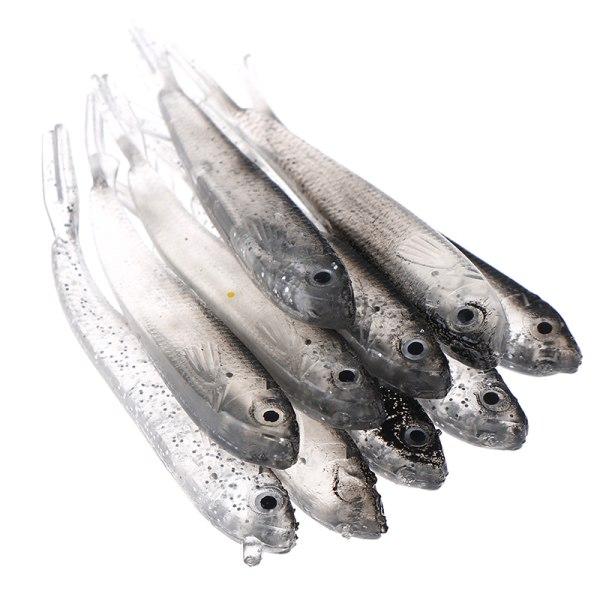10st 80Mm mjukt fiske lock Tiddler Swimbait Artificiell bete T.