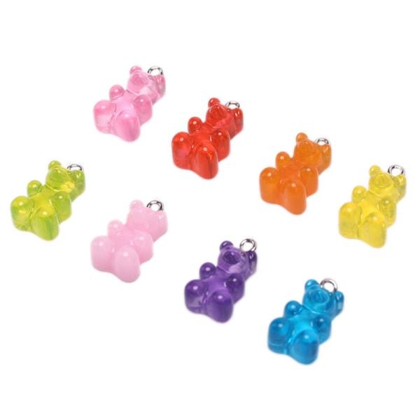 10st / Set Gummy Bear Candy Charms Halsband Hängen DIY Örhänge