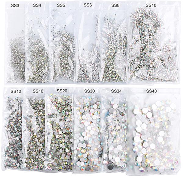 1440st Nail Art Rhinestones Glitter Diamond Gems 3D Tips DIY D