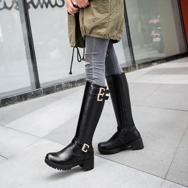 Kvinnors knähöga stövlar Sida dragkedja Chunky Heel Comfort Riding B Yellow 7.5