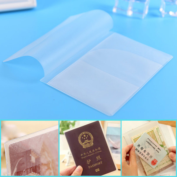 2PC Transparent Pass Holder Cover Package Travel Card Holde