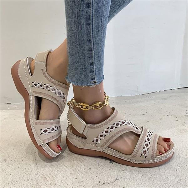 Sommarkvinnor Wedge Sandals Premium Orthopedic Open Toe Sandals Beige 40