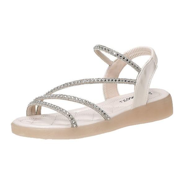 Platta sandaler för kvinnor Rhinestone Strappy Dressy Summer Comfort Sh Beige 8